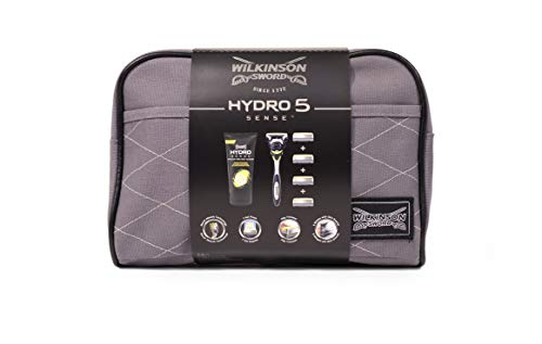 Wilkinson Sword Hydro 5 Sense Washbag Set - Maquinilla de Afeitar de 5 Hojas + 4 Recambios de...