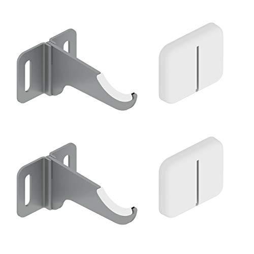 Paire de supports muraux pour radiateurs en aluminium - Couverture ABS blanc et isolateurs en plastique - Capacité maximale 50 kg par fixation - 2 pièces.