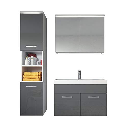 Badezimmer Badmöbel Set Paso LED 80 cm Waschbecken Hochglanz Grau Fronten - Unterschrank Hochschrank Waschbecken Spiegelschrank