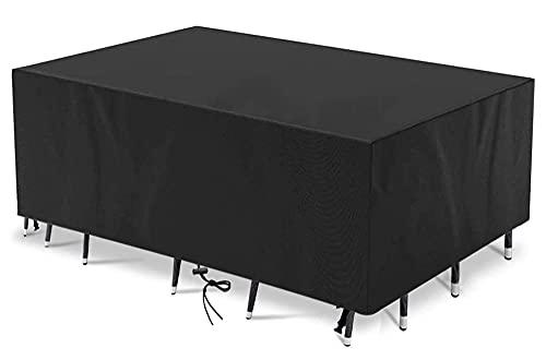 Funda para Muebles de Jardín,380x200x100cm(149.6x78.7x39.4in) Patio Cubierta de Mesa para Muebles,Impermeable ,Anti-UV, Resitente al Polvo 420D Oxford Sofá Chaise Longue Funda Rectangular,Negro