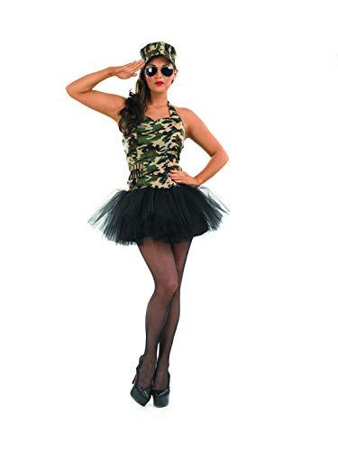 Fun Shack Grünes Sexy Militär Kostüm für Damen, Camouflage Faschingskostüm - S