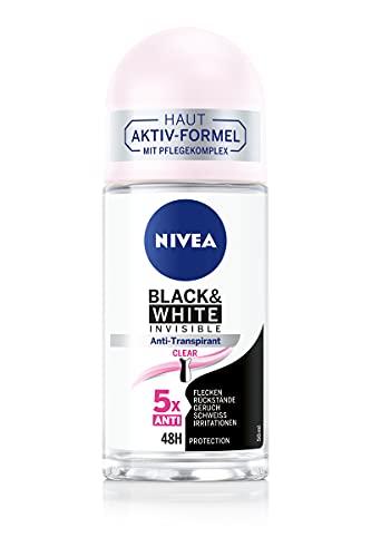 NIVEA Black & White Invisible Clear Deo Roll-On (50 ml), Anti-Transpirant mit Anti-Flecken-Formel,mit 48h Schutz und NIVEA Pflegekomplex