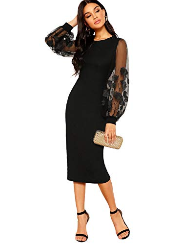 SheIn Women's Elegant Mesh Contrast Long Bishop Sleeve Bodycon Pencil Dress Small Black Floral Kentucky