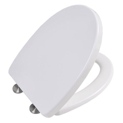 Asiento de inodoro con cierre suave y función de liberación rápida   tapa wc   de Duroplast (resina UF)   blanco   con protección antibacteriana   modelo número 2009
