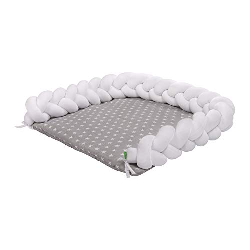 Lulando - Materassino per fasciatoio con motivo a trecce, 76 x 76 cm, lunghezza 230 cm, per fasciatoio Ikea Malm, fasciatoio in 100% cotone, treccia in velluto, standard 100 di Oeko-Tex