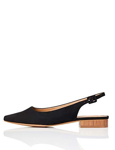 Marchio Amazon - FIND Flat Slingback Chisel Toe Ballerine, Nero (Black), 37 EU