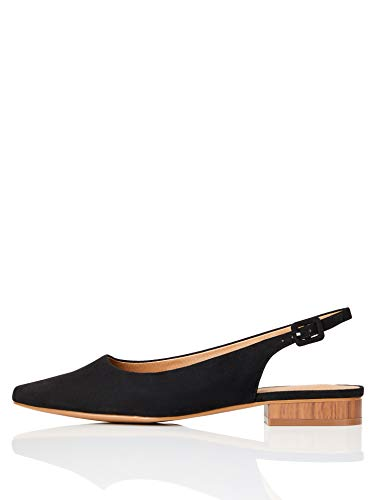 Marchio Amazon - FIND Flat Slingback Chisel Toe Ballerine, Nero (Black), 37 EU