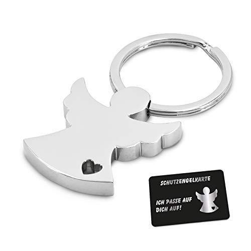 ZWEN Schutzengel Schlüsselanhänger mit Geschenkbox + Schutzengelkarte I Edler Glücksbringer Silber glänzend als Talisman für Auto-Fahrer, Partner & Kinder