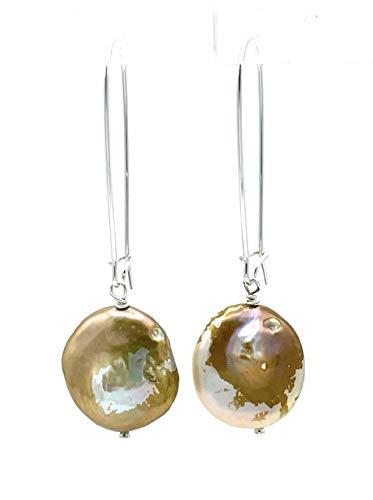 Pendientes de perlas barrocas naturales, plata 925, joyas artesanales, piedra de nacimiento de junio, regalo para mujer