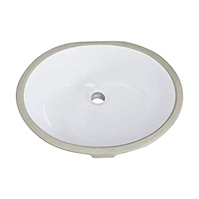 PetusHouse 17x14 Inch Undermount Bathroom Vessel Sink and Pop Up Drain Combo, Oval White Ceramic Bathroom Vessel Vanity Sink Washing Art Basin, Overflow Type