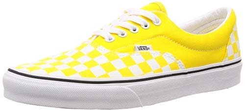 Vans Unisex Era Skate Shoes, Classic Low-Top Lace-up Style in Durable Double-Stitched Canvas and Original Waffle Outsole (12 Women/10.5 Men, Checker Vibrant Yellow/True White)
