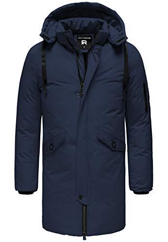 Redbridge Herren Parka Jacke Mantel Winterjacke Long Basic mit Kapuze Blau L
