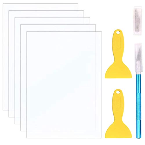 DAOKI 5Pack FEP Release Film 3D Printer Accessories 140x200mm 0.15mm Thickness Transparent for SLA Resin LCD 3D Printer with 2PCS Plastic Remove Tool