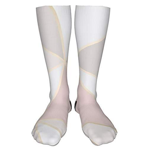 Antvinoler Compression Socks,Rose Gold Geometric Mirror Pattern Crew Socks Knee High Socks for Women Men - Best for Running Athletic Cycling