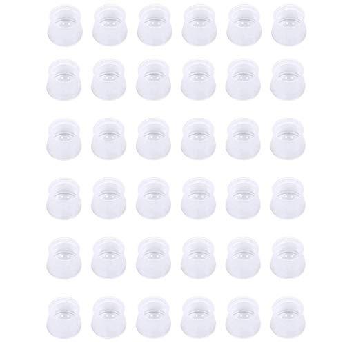 JIAHU Protectores de suelo de silicona para patas de sillas, redondos, cuadrados, lavables, 36 unidades