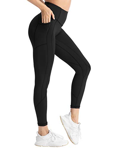 Hopgo Women's High Waisted Workout Yoga Pants with Pockets Tummy Control Running Leggings 4 Way Stretch Black US XL