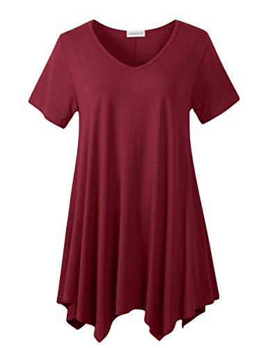 LARACE Womens V Neck T Shirts Casual Loose Fit Short Sleeve Tunic Plus Size Tops for Leggings(Wine Red S)