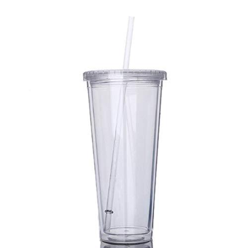650 ml Reisebecher mit Strohhalm, Kunststoff, für Fruchtsaft, Wasserflasche, versiegelter Becher, doppellagiger Kunststoff