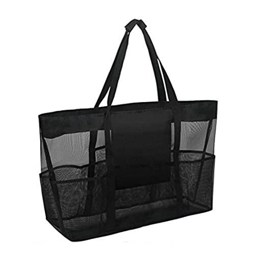 YUTEN Itrimaka stor mesh strand väska, vikbar axelväska strandleksak förvaringsväska, multifunktionella bärväskor top rea