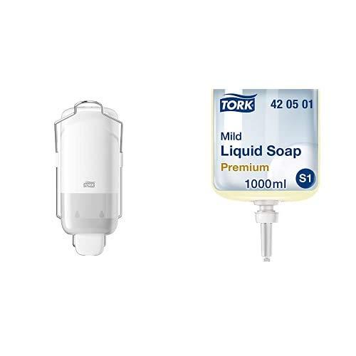 Tork 560100 Dispensador para jabón líquido y en Spray, Elevation Compatible con S1, Blanco y 420501, Recambio de jabón líquido Suave, cosmético, Compatible con S1, 1 L, Amarilla Clara, 1 Unidad
