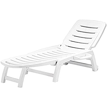 Folding Three Position Reclining Patio Lounge Chair or Sun Lounger - White - S6805B