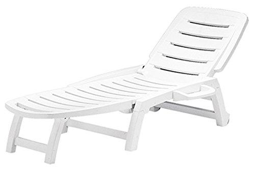 GRAND SOLEIL, Boheme Greenpol, Lettino da Spiaggia, in polimeri riciclati, Dimensioni 147x 64x 89cm, Colore Bianco