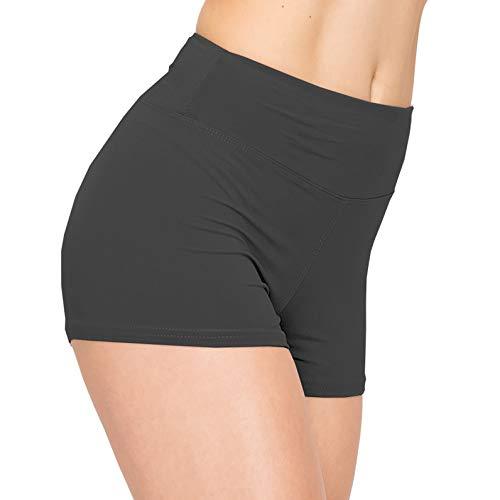 ALWAYS Damen Workout-Yoga-Shorts – Premium Buttery Soft Solid Stretch Cheerleader Laufen Tanz Volleyball Kurze Hose - Grau - Mittel