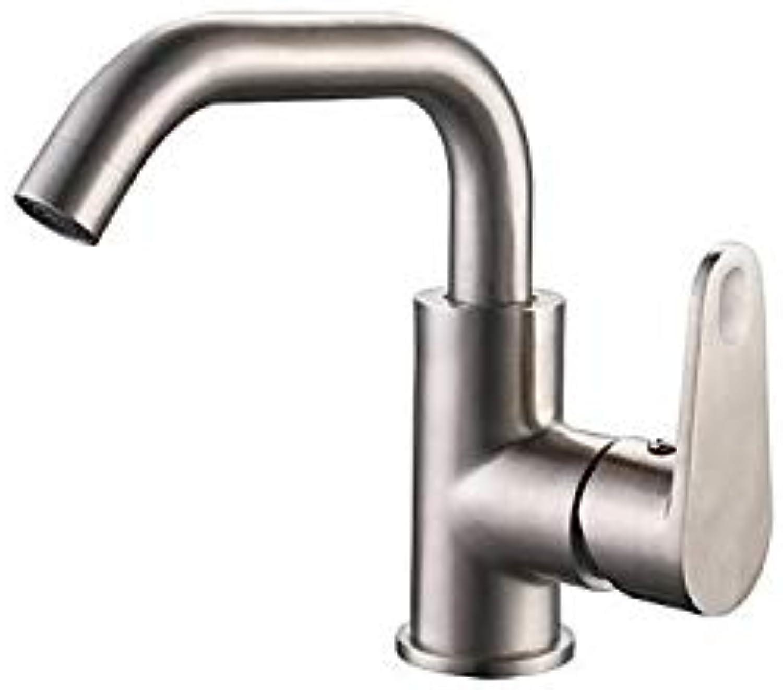 Basin Tap gebürstet Finish Centerset Stil Edelstahl Waschbecken Armaturen Bad Wasserhahn Becken Mischbatterie