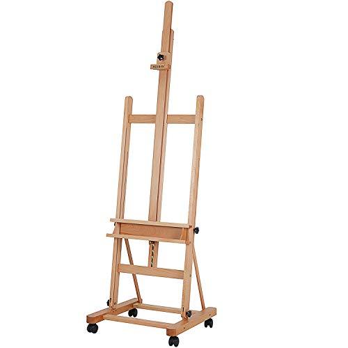 Caballete de madera de haya MEEDEN extragrande con marco en H, inclinable ajustable