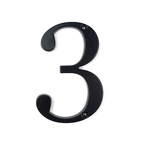 HASWARE Signo de número de casa Números de puerta modernos de 4 pulgadas (10 cm) Placa de señalización Números de dirección de la calle Aleación de zinc (3, Negro)