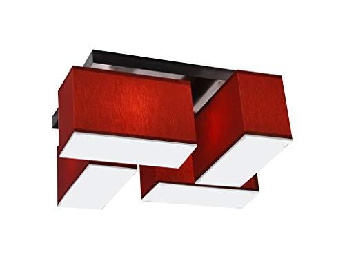 Deckenlampe mit Blenden BLEJLS418D Deckenleuchte Leuchte Lampe 4-flammig Holz Kinderzimmer Wohnzimmer Schlafzimmer Küche Lampe LED-geeignet (ROT)