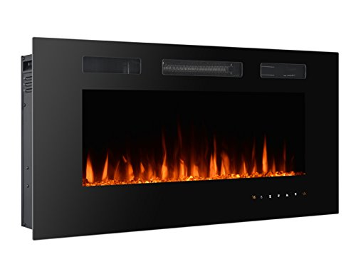 """3GPlus Wall Recessed Electric Fireplace Crystal Stone Flame Effect 3 Changeable Color Heater, w/Remote, 1500/750 W - Black - 42"""""""