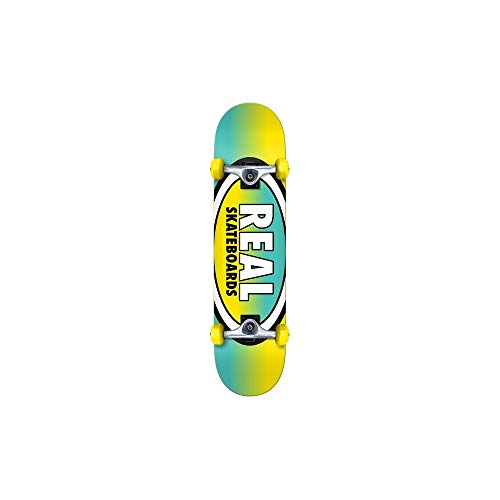 Real Turquoise Gelb Oval Fades - 7.5 Inch Skateboard Komplett (One Size, Gelb)