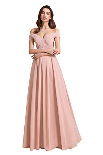 Clothfun Off Shoulder Blush Pink Bridesmaid Dresses for Women Long A-Line Simple Formal Dresses with Pockets 8