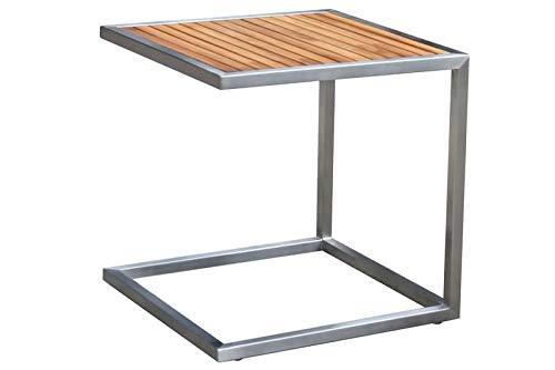 OUTFLEXX Beistelltisch, Silber/Natur, Edelstahl/FSC-Teakholz, 45x45cm, Tischplattenstärke 1,2cm
