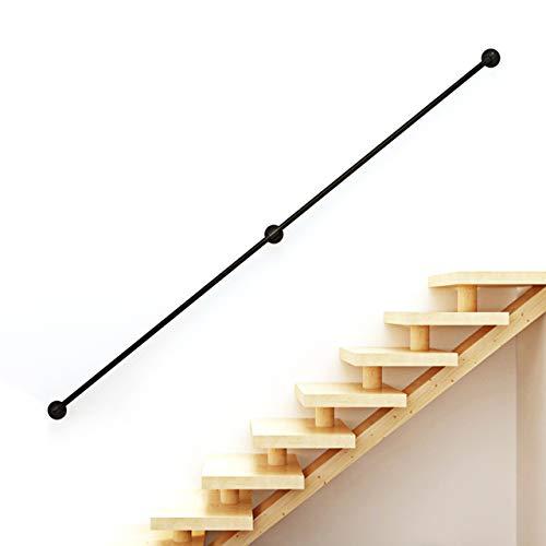 Pasamanos de hierro forjado negro de 30 a 600 cm para interiores y exteriores, protección antideslizante de seguridad, pasamanos para escaleras de discapacitados, paredes de baño, metal | ,8ft/240cm