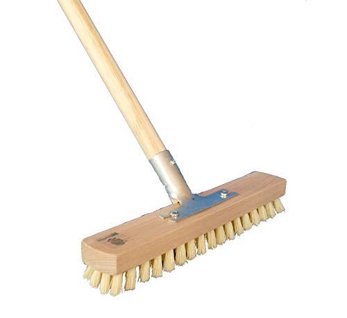 BawiTec Schrubber Wischer 30 cm Breite MyprenFibre Scheuerbürste mit Stiel 120 cm Länge Bodenschrubber