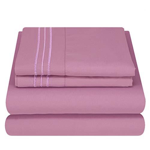 Mezzati Luxury Bed Sheet Set - Soft and Comfortable 1800 Prestige Collection - Brushed Microfiber Bedding (Purple Jasper, Queen Size)