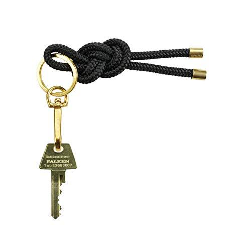 KNOK Key Knot - Llavero con cordón Negro Negro 12 x 3.5 x 0.5 cm