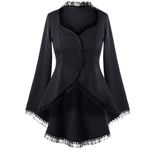 Amcool Neu Damen Steampunk Gothic Long Coat, Mantel Retro Jacke Barock Punk Kleidung Vintage Viktorianischen Langer Cosplay Kostüm Smoking Uniform mit Spitze