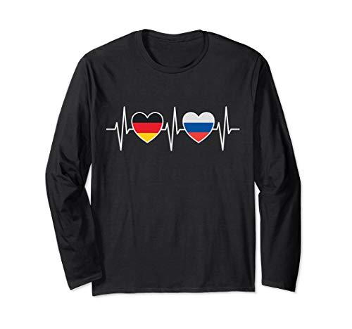 Deutschland Russland Russisch Flaggen Flagge Fahnen Russen Langarmshirt