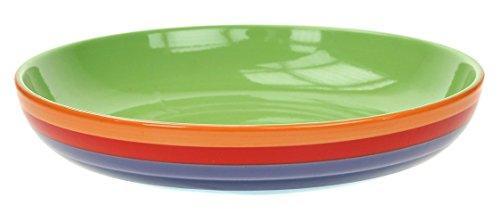 Windhorse-Ciotola per Pasta, motivo: arcobaleno a righe in ceramica, 23 cm x 23 cm x 11,5 cm, dipinto a mano