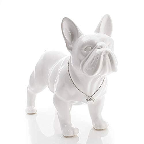 amazyn Decoration Crafts - Cute Ceramic French Bulldog Dog Statue Home Decor Crafts Room Decoration Dog Ornament Porcelain Animal Figurines Decorations@18x8x15cm_Black - 1
