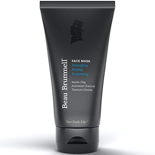 Men's Face Mask by Beau Brummell | Detoxifying Facial Treatment with Kaolin Clay & Activated Charcoal | Deep Cleansing Formula Clears Blackheads & Acne | 5 FLOZ Tube Lasts Approx 6-Months |Made In USA
