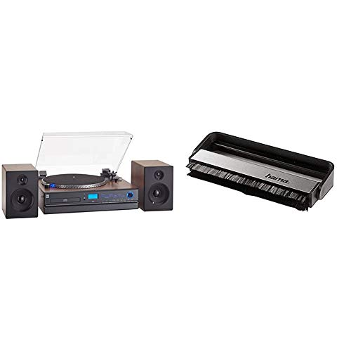 Dual NR 100 X Kompaktanlage, Front Schwarz, Braun (NR 100) & Hama Carbon-Faserbürste für Langspielplatten (antistatisch Schallplatten reinigen, Vinylbürste), schwarz/Silber