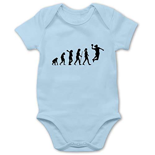 Shirtracer Evolution Baby - Handball Evolution Damen - 1/3 Monate - Babyblau - Handball Evolution Body - BZ10 - Baby Body Kurzarm für Jungen und Mädchen