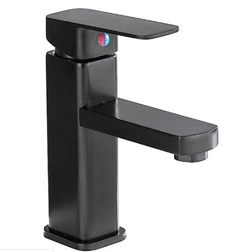 Grifo cuadrado negro, color del lavabo, grifo de acero inoxidable, agua caliente y fría sobre el grifo de la encimera