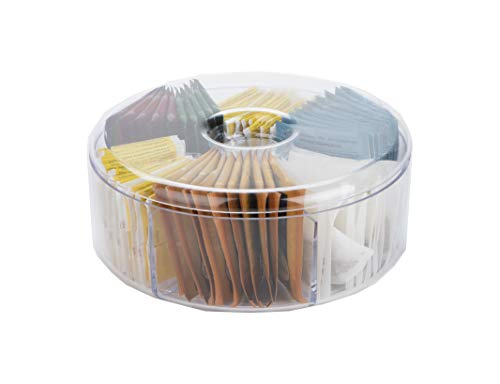 Mind Reader Acrylic Storage & Organizer 6 Compartment Tea Bag Holder with Lid, Round Pantry Organizer for Kitchen, Clear, Clear Round, Clear Round -  TEACIR6-CLR