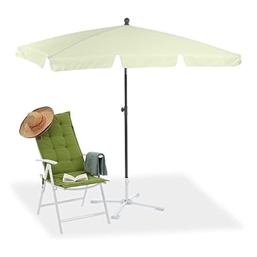 Relaxdays 10023227_49 Ombrellone Spiaggia, Mare, Giardino, Balcone, Rettangolare, 200x120 cm, Inclinabile, Giallo Chiaro