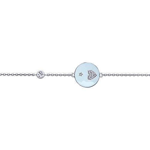 SOKOLOV Jewelry feines Armband Damen Silber Emaille mit echten Cubic Zirkonia I Exklusiver Designer Markenschmuck Damen-Schmuck I Armreif 925 Silber I Armkettchen Silber Mädchen bleu (19)